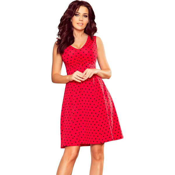 d7331ecb Czerwona Rozkloszowana Sukienka bez Rękawów z Dekoltem V
