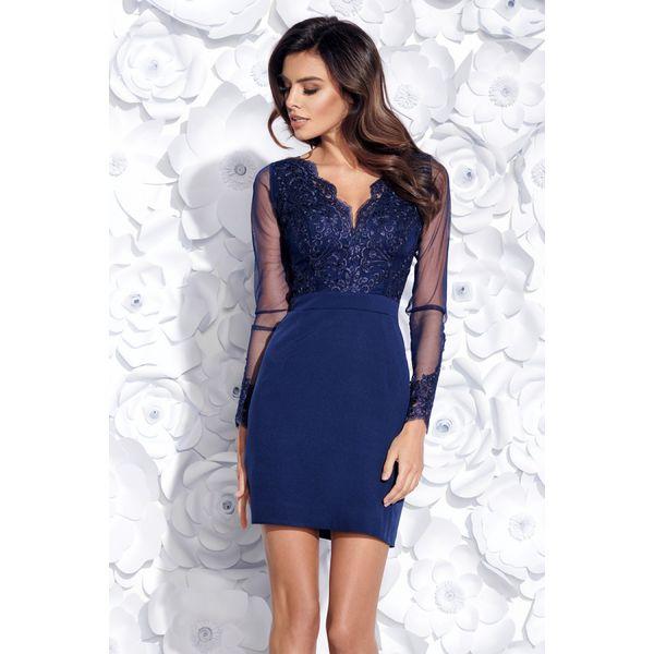 9d688dcc37497b Sukienka dopasowana z koronką 2159 - Niebieskie sukienki damskie ...