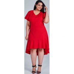 db3b283e13 Czerwona sukienka NILA na wesele duże rozmiary OVERSIZE PLUS SIZE WIOSNA. Sukienki  damskie marki Moda