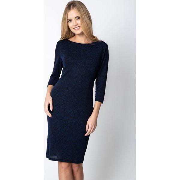 84765b3ee1 Granatowa błyszcząca sukienka z ozdobnym tyłem QUIOSQUE - Czarne ...