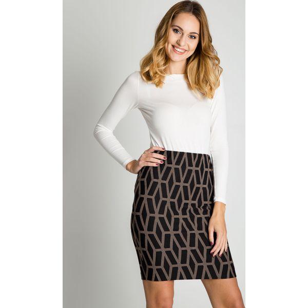 9c9fbcd251 Krótka spódnica w geometryczny wzór BIALCON - Szare spódnice damskie ...