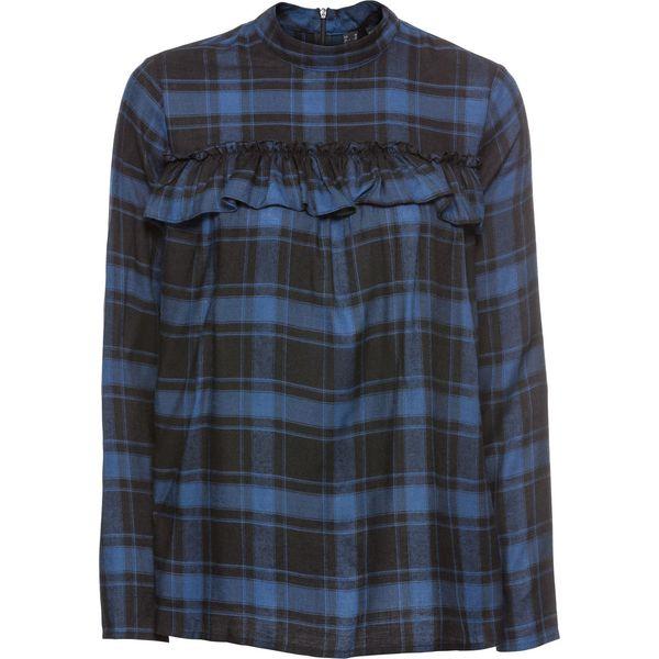 050aff2a37f8d6 Bluzka z falbanami bonprix ciemnoniebieski w kratę - Bluzki damskie ...