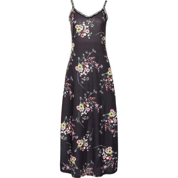 95c7186ef0 Sukienka shirtowa z koronką bonprix czarny z nadrukiem - Czarne ...