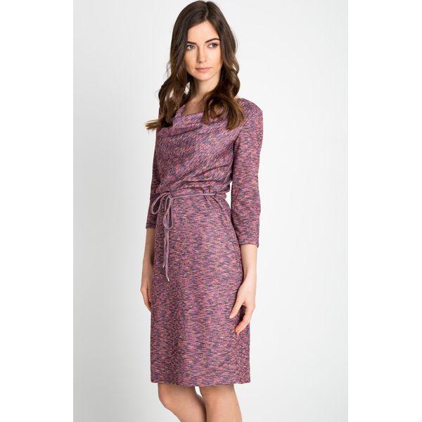 7a69f754db Sukienka z dekoltem woda z wiązaniem QUIOSQUE - Brązowe sukienki ...
