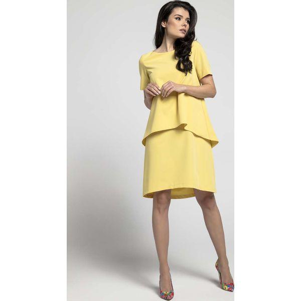 0c1c2cea58 Żółta Trapezowa Sukienka z Asymetryczną Nakładką - Żółte sukienki ...