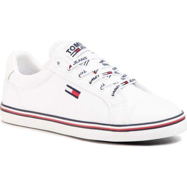 Tenisówki TOMMY JEANS Essential Lace Up Sneaker EN0EN00786 White YBS
