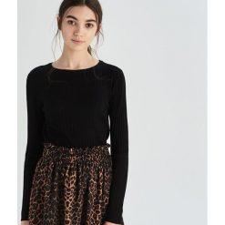 e3c909ca0fdcf0 Prążkowany sweter basic - Czarny. Czarne swetry nierozpinane damskie Sinsay,  l, bez wzorów