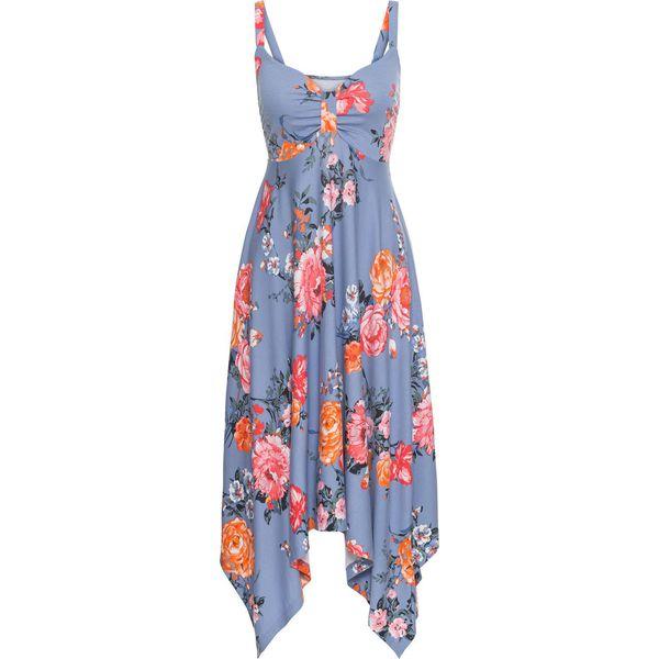 692c9bd7e3 Sukienka z asymetrycznym dołem bonprix matowy niebieski w kwiaty ...
