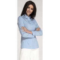 b37b326bcec34f Błękitna Taliowana Koszula Damska. Niebieskie koszule damskie Molly.pl, l,  bez wzorów