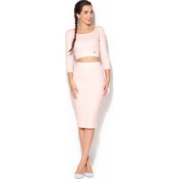 5dd18a2c17 Bawełniany Komplet Midi Spódnica + Krótka Bluzka - Różowy - Spódnice ...
