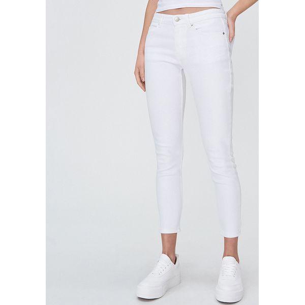 Jeansy skinny ze średnim stanem Biały