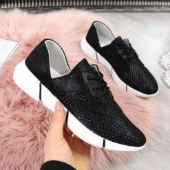 Buty sportowe damskie skórzane ażurowe czarne Jezzi czarny