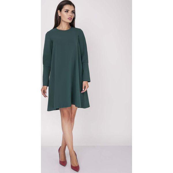 8d555ea051 Zielona Wizytowa Sukienka Trapezowa z Guzikami na Rękawach ...