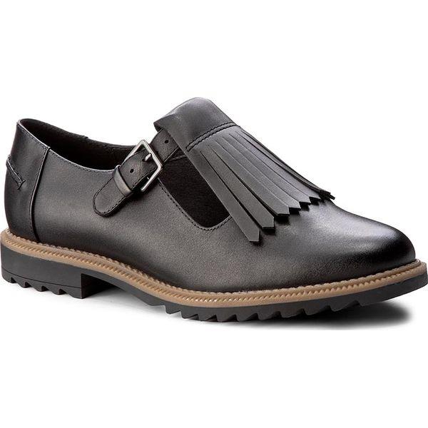 e51539c53 Półbuty CLARKS - Griffin Mia 261156344 Black Leather - Półbuty ...