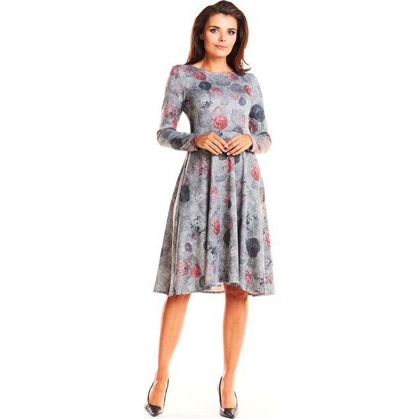 30c0efdb Szara Wizytowa Rozkloszowana Sukienka Midi w Liście
