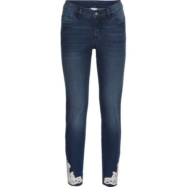 9cf563c7e8be40 Dżinsy z koronką szydełkową bonprix niebieski