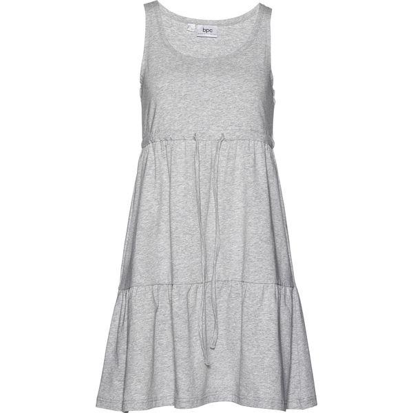 426a2daa68 Sukienka shirtowa z wiązanym paskiem bonprix jasnoszary melanż ...