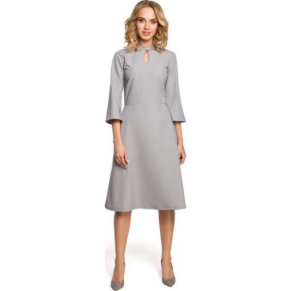 eb57654614 Szara Sukienka Wizytowa z Rozkloszowanymi Rękawami - Sukienki ...