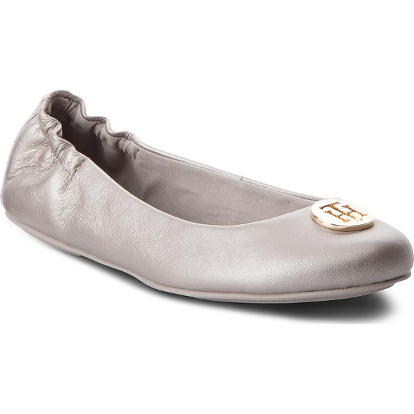 878aac32f8 Baleriny TOMMY HILFIGER - Pearlized Leather Ballerina FW0FW03412 ...