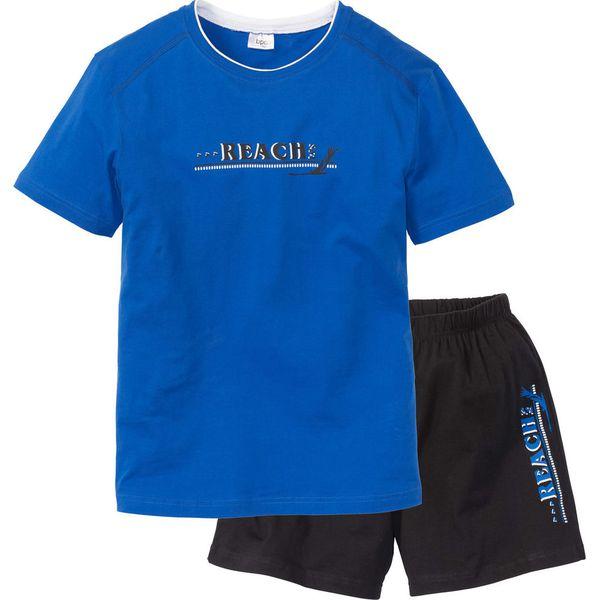 21b413ac80d73f Piżama z krótkimi spodenkami bonprix lazurowo-czarny - Niebieskie ...