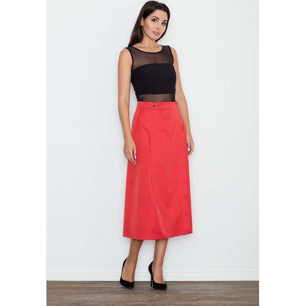 767e8420 Czerwona Spódnica Trapezowa Midi z Kieszeniami