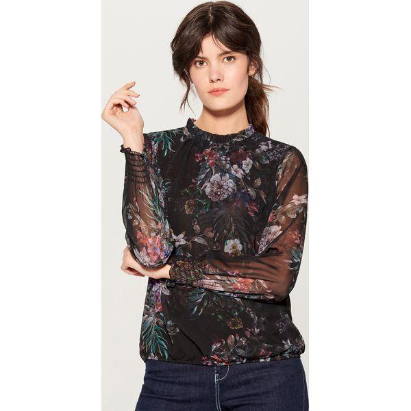 c22c123ad7 Szyfonowa bluzka w kwiaty - Czarny - Czarne bluzki damskie marki ...