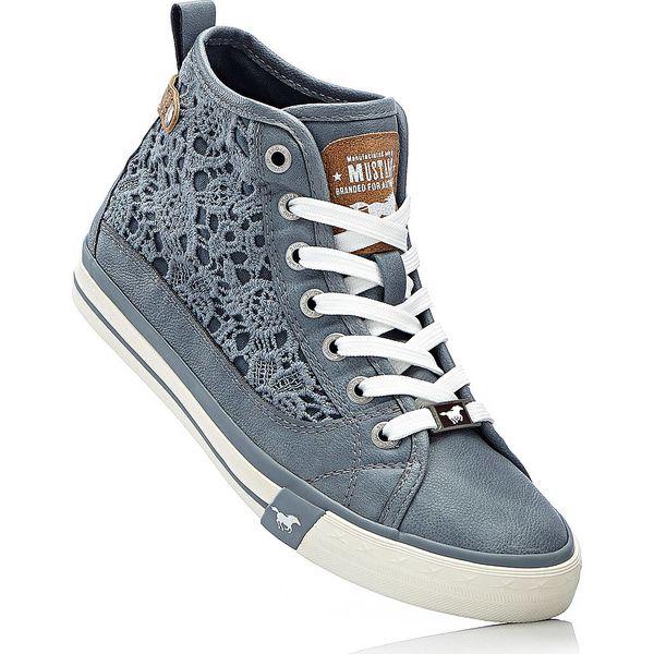 6bda76850f50d Sneakersy Mustang bonprix niebieskoszary - Niebieskie obuwie sportowe  damskie marki bonprix, w koronkowe wzory, z koronki, na sznurówki. Za  199.99 zł.