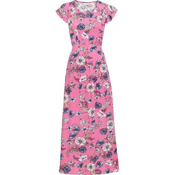 31cbc47e Długa sukienka z nadrukiem i falbanami: must have bonprix bladoróżowy w  kwiaty