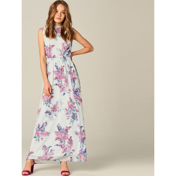 496426008d Sukienka maxi z wycięciem na plecach - Wielobarwn - Szare sukienki ...
