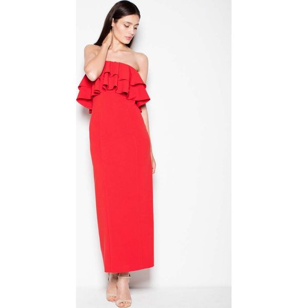 265940bafa Czerwona Sukienka Długa Elegancka z Falbankami - Czerwone sukienki ...