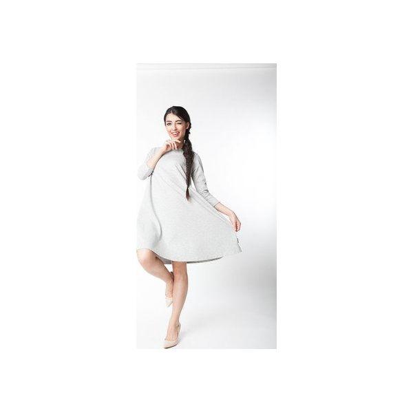 sukienka klosz, rękaw 34, sukienka midi szary melanż