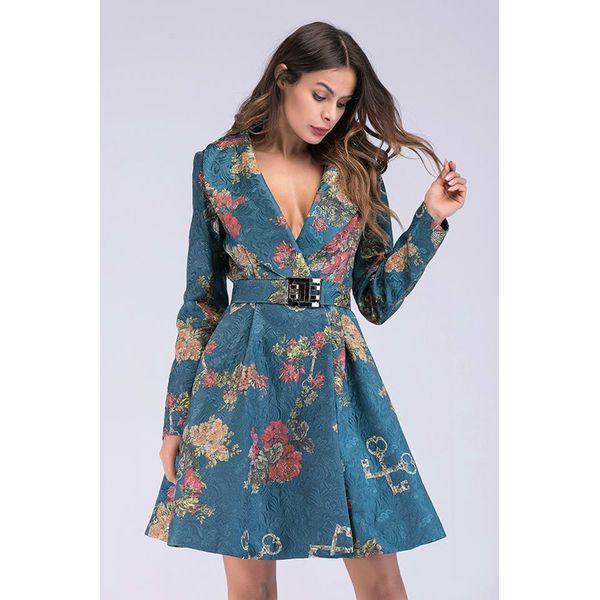 6c9719f4b3 Sukienka w kolorze niebieskim ze wzorem - Niebieskie sukienki ...