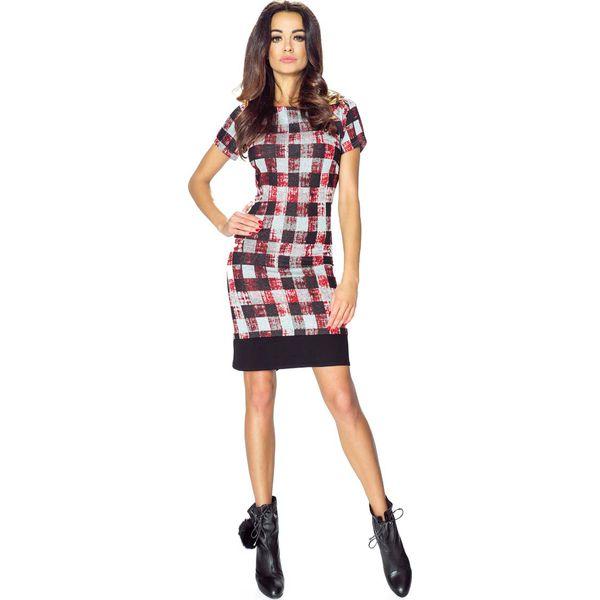 2261ddbe93 Sukienka we Wzory z Czarnym Obszyciem - Czerwona Kratka - Czerwone ...