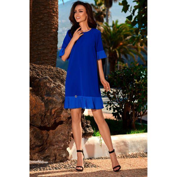 dcc5d2dba6 Kobieca sukienka z falbanką l243 - Niebieskie sukienki damskie marki ...