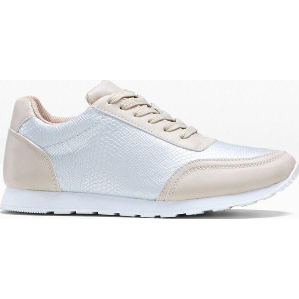 Sneakersy bonprix beżowo srebrny