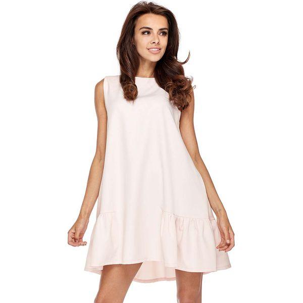 c13efb32 Różowa Wyjściowa Trapezowa Sukienka z Falbanką