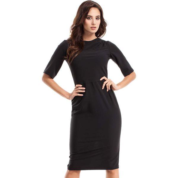 9f9938b099 Czarna Sukienka Elegancka Ołówkowa z Ozdobnym Marszczeniem - Czarne ...