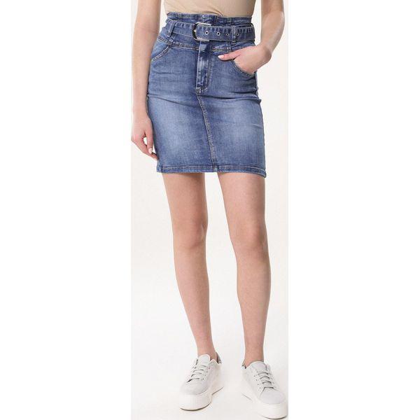 Niebieska jeansowa spódnica z wiązaniem Brigid