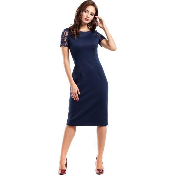 982b6164b79239 Granatowa Sukienka Wieczorowa Ołówkowa Midi z Koronką - Niebieskie ...