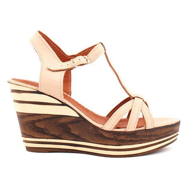 4f5e7d67141 Skórzane sandały w kolorze beżowym - Brązowe sandały damskie marki ...