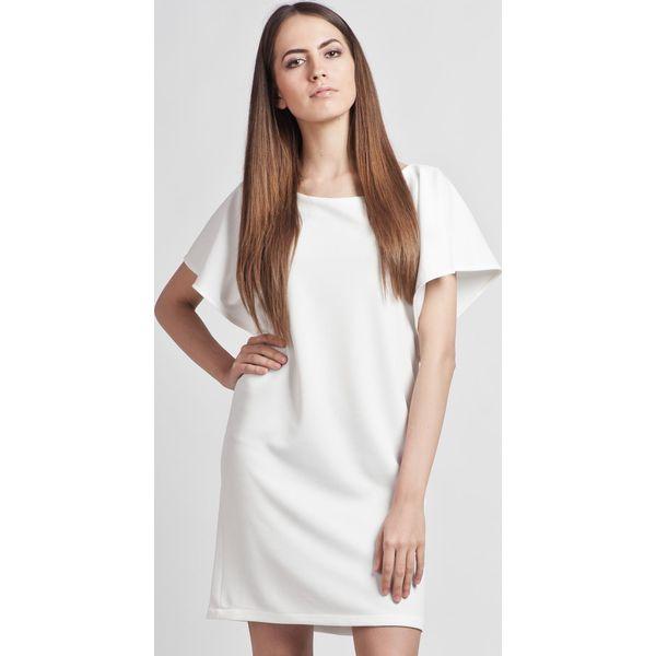 54d6b5f060 Biała Prosta Elegancka Sukienka z Rękawkami Typu Nietoperz - Białe ...