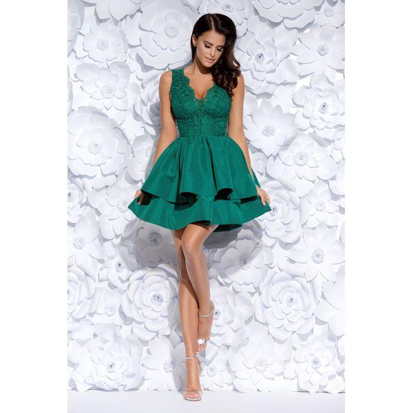 bb1b341cc5 Zielona Sukienka Koktajlowa o Rozkloszowanym Kroju - Sukienki ...