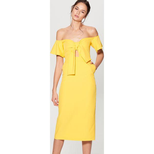 20b72d699c Sukienka hiszpanka z wiązaniem - Żółty - Żółte sukienki damskie ...