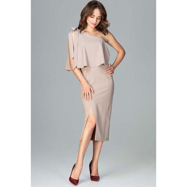 686d790dd0 Beżowa Koktajlowa Dopasowana Sukienka na Jedno Ramię - Sukienki ...