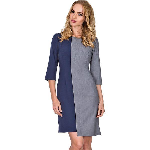 9aaad0ea Sukienka w kolorze granatowo-szarym - Niebieskie sukienki damskie ...