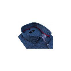 2b176f49a6695c Granatowa koszula z długim rękawem w drobny wzór 458. Koszule męskie Mmer - Koszule  męskie