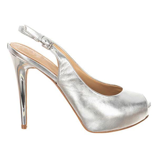 48604294f0e40 Skórzane sandały w kolorze srebrnym - Szare sandały damskie marki ...
