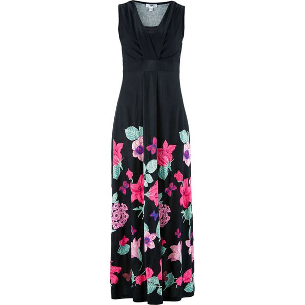 26d3dfede5 Długa sukienka bonprix czarny w kwiaty - Sukienki damskie marki ...