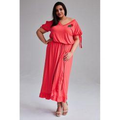 f0005d320b Koralowa Sukienka Laura MAXI duże rozmiary OVERSIZE PLUS SIZE WIOSNA.  Sukienki damskie marki Moda Size