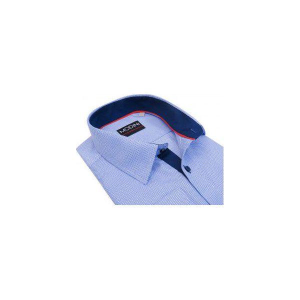 59b8269863c8da Biała koszula w niebieskie drobne romby A32 - Koszule męskie marki ...